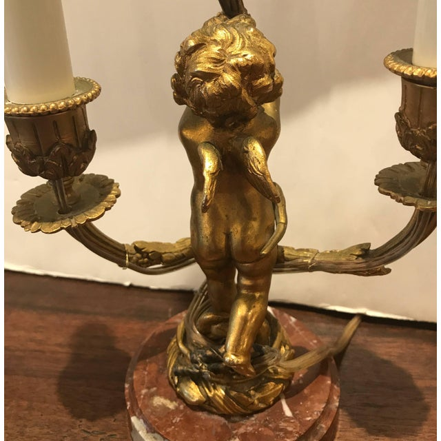 19th Century French Gilt Bronze Candelabra Lamp For Sale In Philadelphia - Image 6 of 9