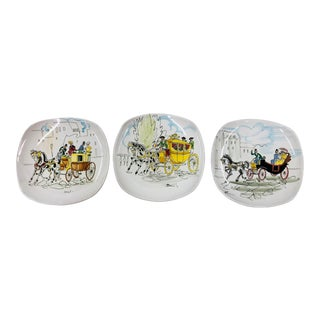 Set of 3 20th Century Italian Carriage Ride Scene Decorative Wall Plates For Sale