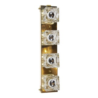 Mid-Century Modernist Glass Cube Sconce in Brass by Sciolari For Sale