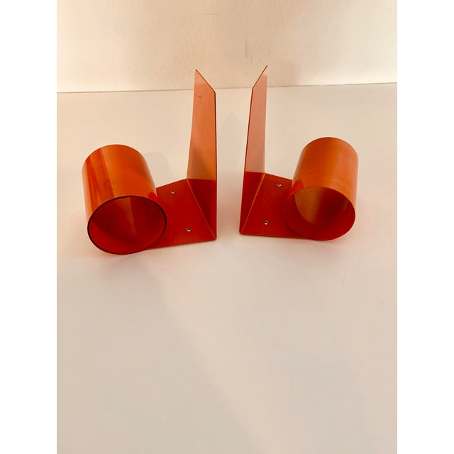 Metal 20th Century Art Deco Space Age Modernist Orange Metal Bookends - a Pair For Sale - Image 7 of 7