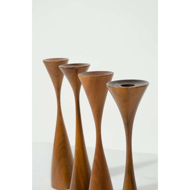 Wood Set of Four Turned Walnut Candlesticks by Rude Osolnik For Sale - Image 7 of 9