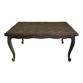 French Louis XV Style Gray Finish Dining Table For Sale