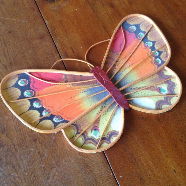 Vintage Rattan & Fabric Butterfly Wall Art - Set of 3 - Image 6 of 11