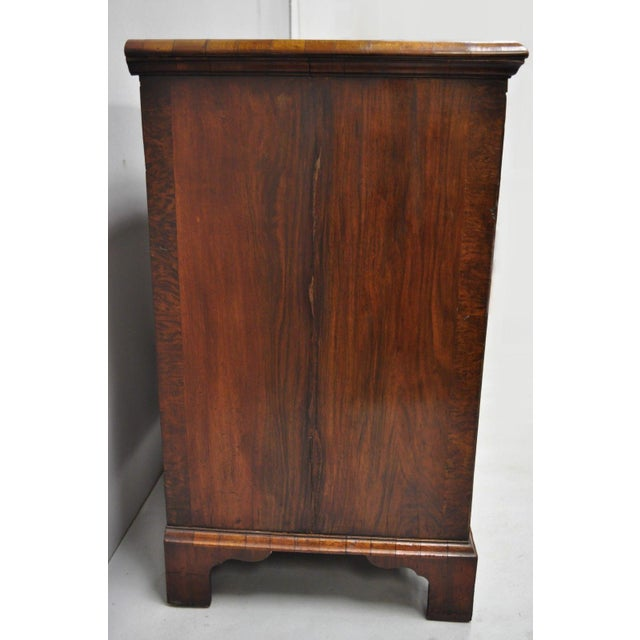 19th Century Queen Anne Burr Walnut Inlaid Chest of Drawers For Sale - Image 10 of 13