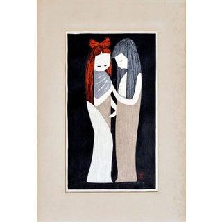 Mid 20th Century Figurative Female Woodblock Print For Sale