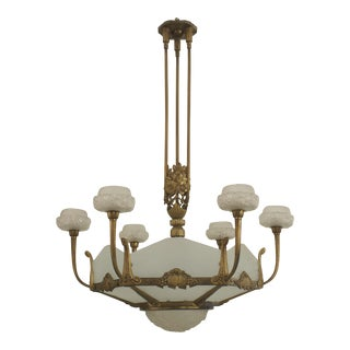 1925 French Art Deco Gilded Bronze 6 Sided Frosted (New) Glass Chandelier For Sale