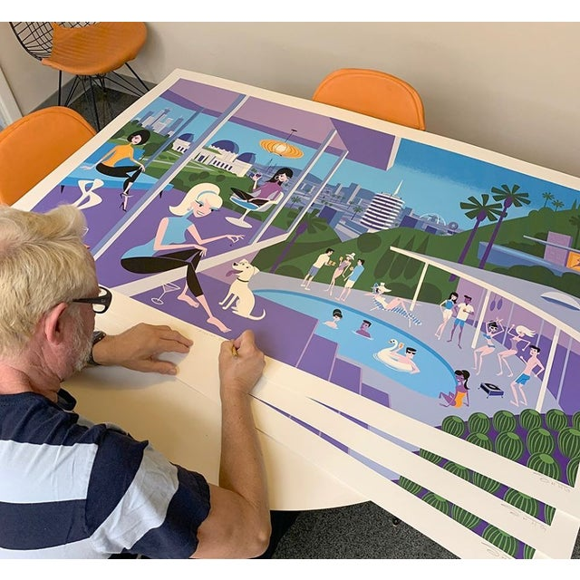 Mid-Century Modern Shag the Artist (Josh Agle) 19 Color Serigraph Largest Shag to Date For Sale - Image 3 of 4