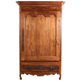 Late 18th Century French Louis XV Cherrywood Bonnetiere Armoire For Sale
