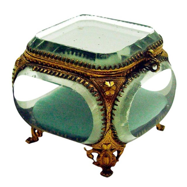 Vintage French Beveled Mirrored Glass & Ormolu Box - Image 1 of 5