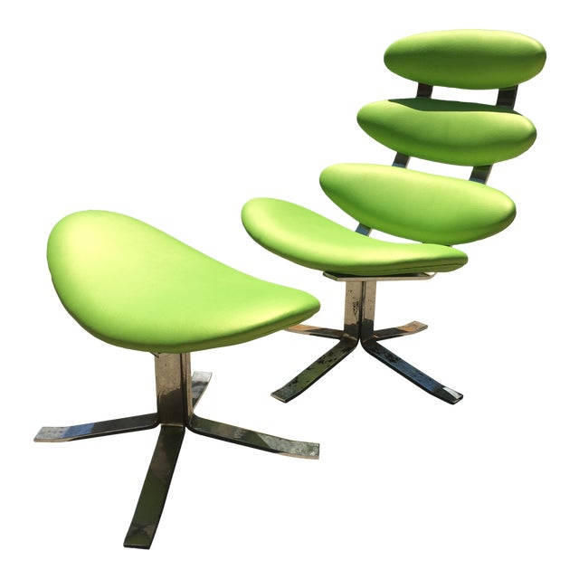 Poul Volther Corona Chair & Ottoman by Erik Jorgensen For Sale