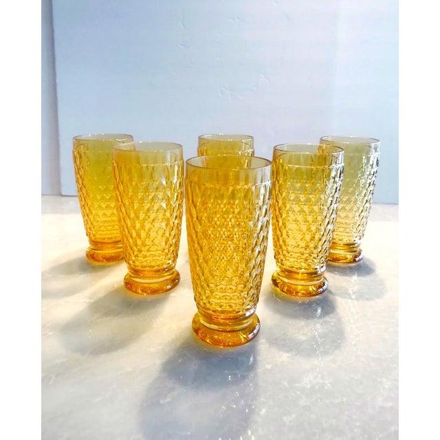 Hollywood Regency Set of Seven Vintage Villeroy & Boch Crystal Highball Glasses in Amber For Sale - Image 3 of 13