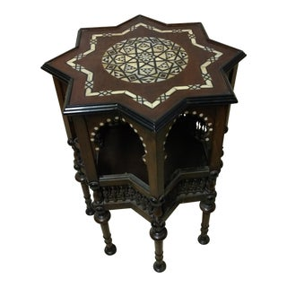 "1920s Morrocan Inlaid ""Star"" Wood Side Table"