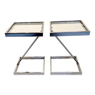 1970s Vintage Hollywood Regency Style Chrome & Glass Pedestal Tables - A Pair For Sale