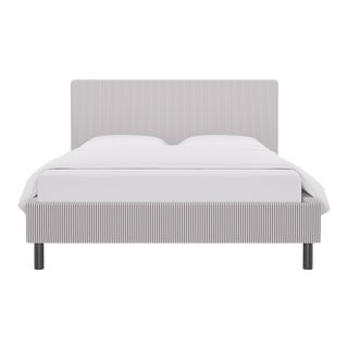 Queen Tailored Platform Bed in Silver Ticking Stripe For Sale