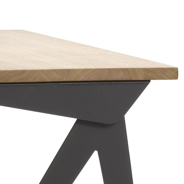 Mid-Century Modern Jean Prouvé Compas Direction Desk in Natural Oak and Black Metal for Vitra For Sale - Image 3 of 9