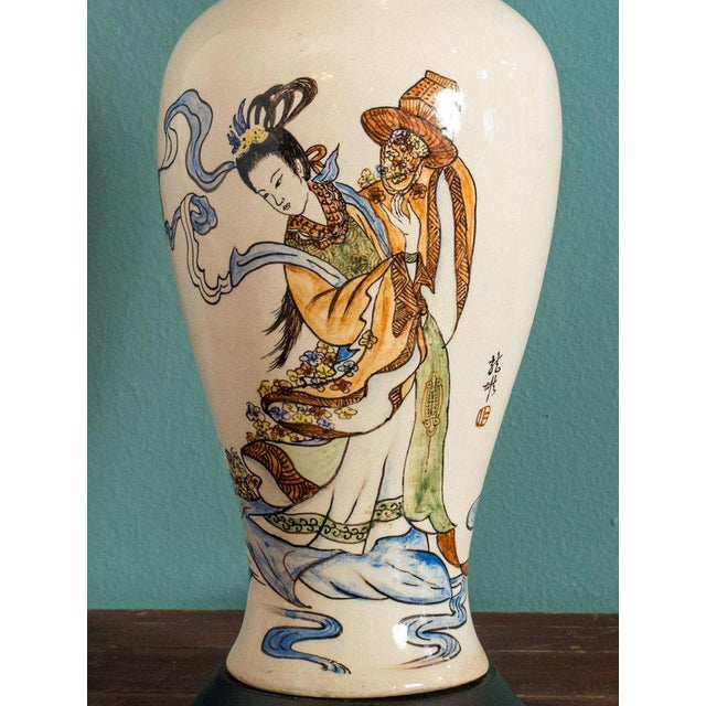 1900 - 1909 Antique Chinese Export Vase Lamp For Sale - Image 5 of 6