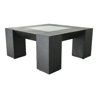 Belgium Square Black Leather Wrapped Coffee Table Late 1970s For Sale