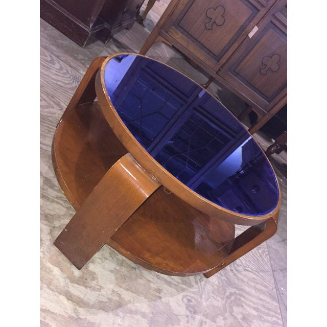 Mid-Century Modern Mid-Century Modern Blue Glass Coffee Table For Sale - Image 3 of 6