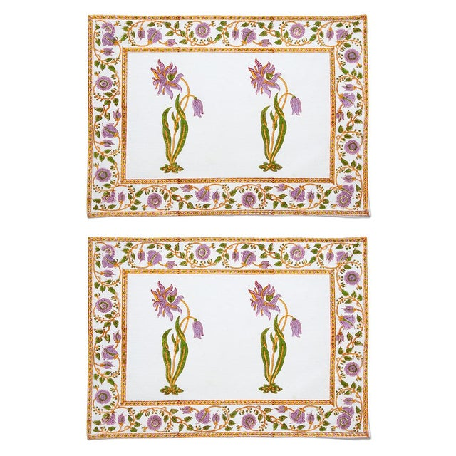 Florence Placemats Lilac & Green - A Pair For Sale - Image 4 of 4