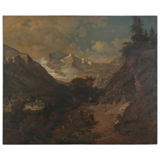 Early 20th Century Antique Mountain Trail Erdmann Swedish Oil on Canvas Painting For Sale