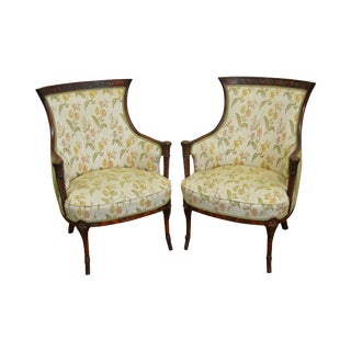 1940s Regency Style Mahogany Frame Side Chairs - A Pair For Sale