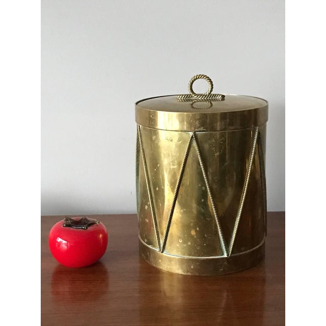 Vintage Italian Brass Drum Ice Bucket For Sale In Tampa - Image 6 of 7