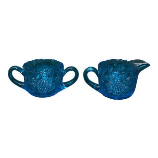 Blue Glass Creamer & Sugar Bowl Set - A Pair For Sale
