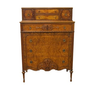 """Antique Berkey & Gay Louis XVI French Burled Walnut 38"""" Chest of Drawers For Sale"""