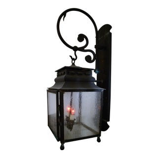 Outdoor Lantern on Curled Scroll Bracket For Sale