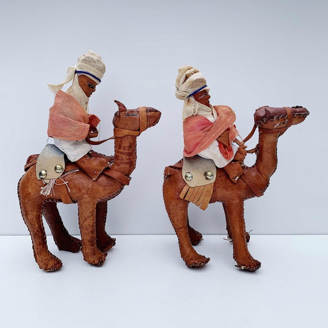Figurative Vintage Middle Eastern Leather Figurines - Set of 4 For Sale - Image 3 of 11