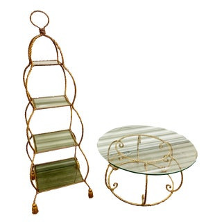 1960s Vintage Italian Florentine Gilt Tassel Rope Etagere and Matching Coffee Table Set For Sale