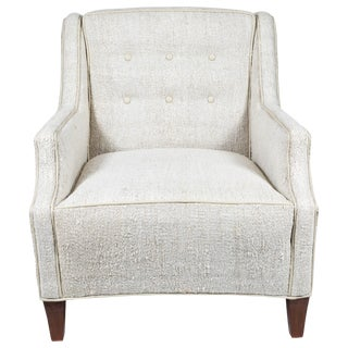 Mid-Century Club Chair Newly Upholstered in a Hemp Rug For Sale