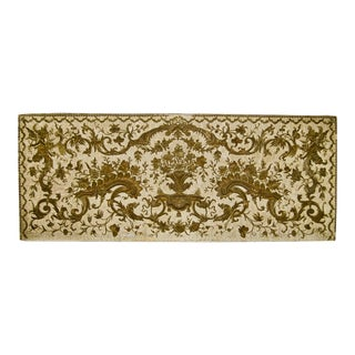 Large 17th Century Venetian Italian Gold Metallic Embroidery Wall Hanging Tapestry on Silk For Sale