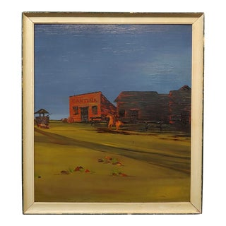 John Lewis Egenstafer - Wild West Town - Oil Painting For Sale