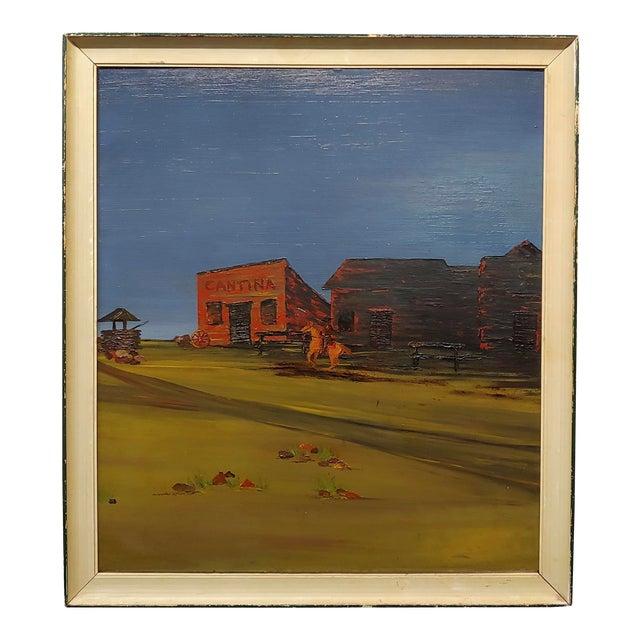 "John Lewis Egenstafer ""Wild West Town"" Oil Painting For Sale"