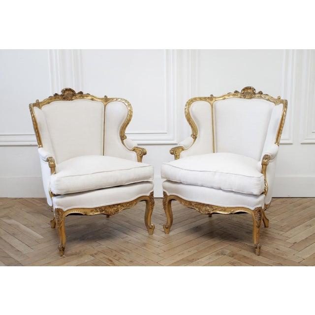 Mid 20th Century Pair of Antique Giltwood Linen Upholstered Bergère Chairs For Sale - Image 5 of 13