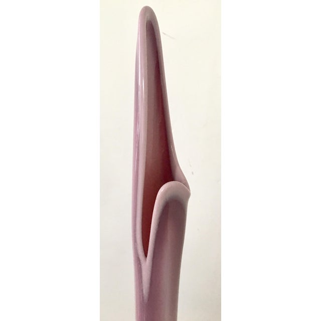 L.E. Smith Glass Co. Mid-Century Modern Opaque Lavender Glass Vase For Sale - Image 5 of 7