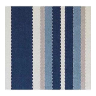 Duralee Hunterdon Blue Striped Velvet Fabric For Sale