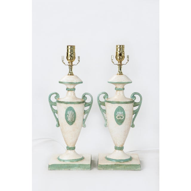 Vintage Urn Lamp in White With Green Cypher of Dutches & Duke of Windsor For Sale In New York - Image 6 of 7