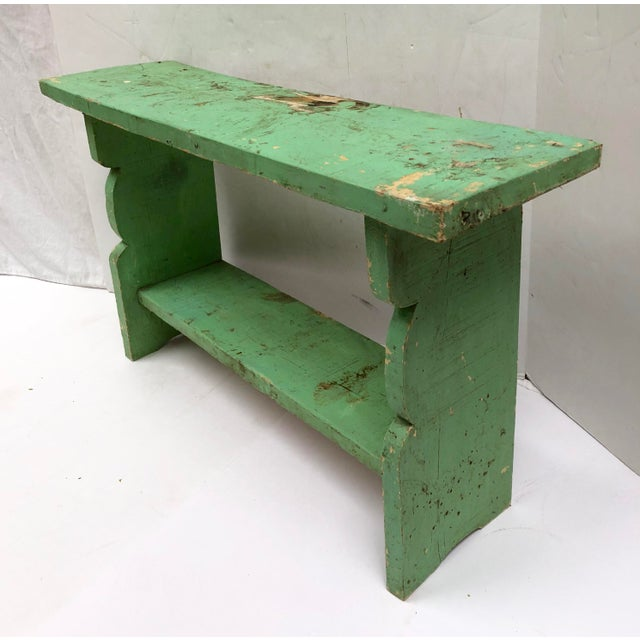 Country 1800s French Country Farmhouse Painted Bucket Bench For Sale - Image 3 of 12