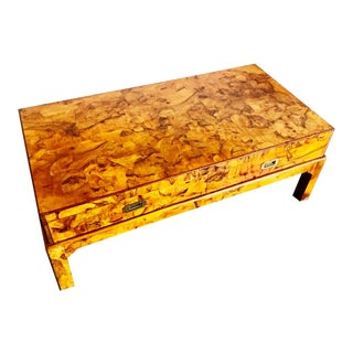 1970s Campaign Oyster Burl Coffee Table For Sale