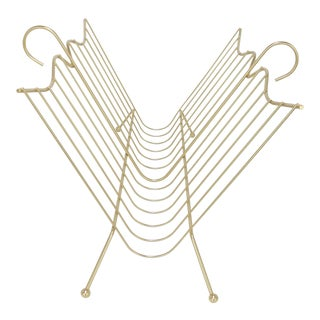 Mid-Century Modern Gold Wire Magazine Rack For Sale