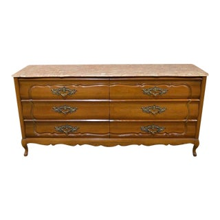1950s French Provincial Solid Cherry Marble Top Dresser For Sale