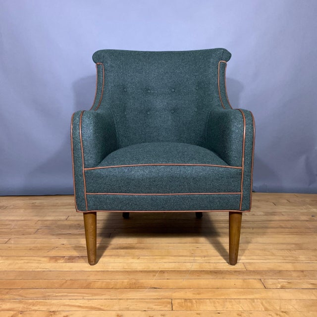 Green Danish 1950s Armchair, Kvadrat Felted Wool & Leather For Sale - Image 8 of 10