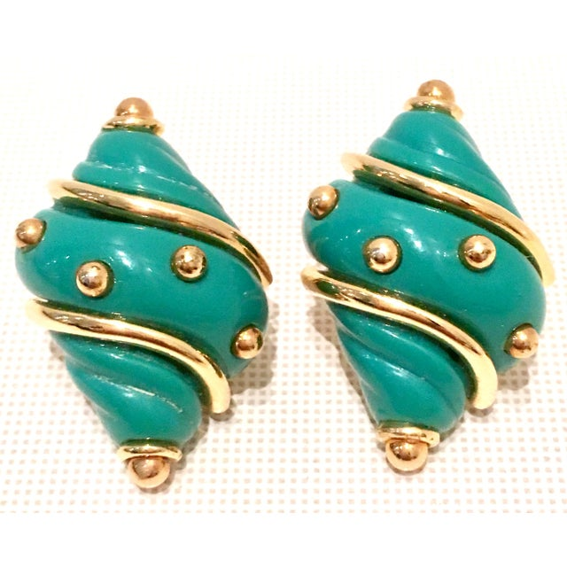 20th Century Kenneth J Lane Gold & Enamel Snail Form Earrings For Sale - Image 11 of 11