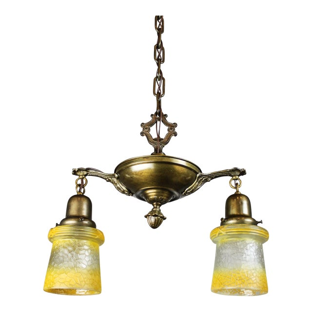 Antique Pan Fixture with Original Shades (2-Light) - Image 1 of 9