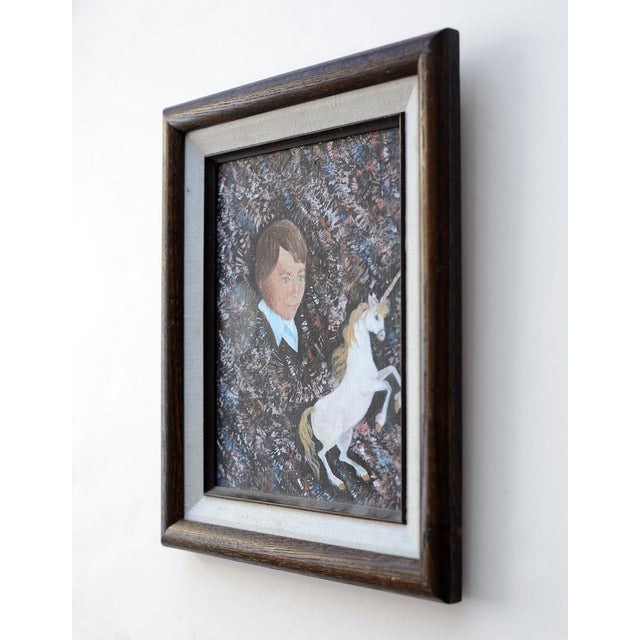 Vintage 1984 Retro Boy & Unicorn Painting For Sale - Image 4 of 8