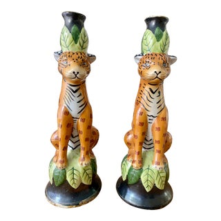 1980s Leopard Ceramic Candle Holders - a Pair For Sale