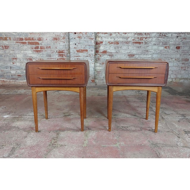 Mid-Century Modern Johannes Andersen-Two Drawer Teak Bedside Tables-Mid Century Danish - A Pair For Sale - Image 3 of 10