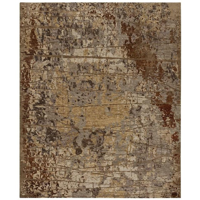 Modern abstract pattern Tibetan hand knotted rug in wool and silk. Contemporary handmade rug. Available in standard sizes....